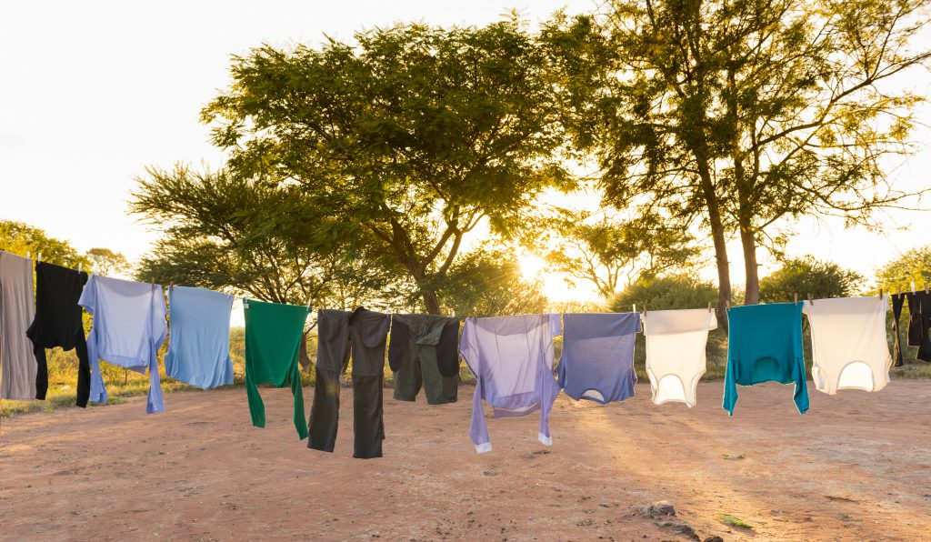 Laundry Drying on Outdoor Clothes Line